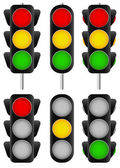 Set of  traffic lamps — Stock Vector