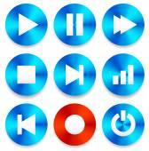 Multimedia buttons set — Stock Vector