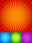 Rays or starburst backgrounds set — Stock Vector