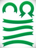 Striped green banner set — Stock Vector