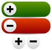 Plus and minus buttons. — Stock Vector