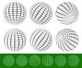 3D Wire-frame, gridded spheres set — Stock Vector