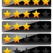 Star Rating System on Glossy, Black Panels — Stock Vector #68885449