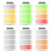 Battery Level Indicator Set Color Coded — Stock Vector
