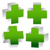 Set Of 3D Green Crosses — Vector de stock