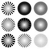 Radial Elements Set. — Stock Vector