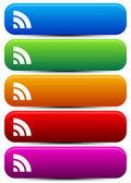 Rectangular, Oblong buttons with wireless signal shape — Stock Vector