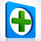 3D Cross Icon in Green and Blue. — Stock Vector