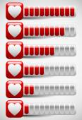 Meters with Heart Shapes. Love Meter, Health Points in Computer  — Stockvector