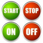 Start-Stop and On-Off Buttons — Stock Vector
