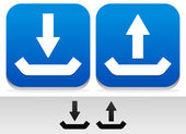 Upload, Download Buttons and Symbols — Vetor de Stock