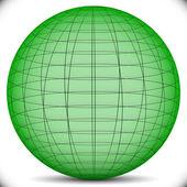 绿色网格,线框球体 — 图库矢量图片