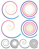 Colorful Spiral Elements. — Stock Vector