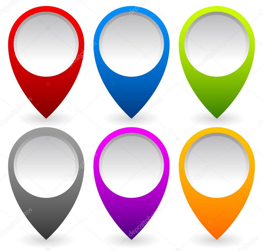 彩色地图标记,图钉一套– 图库插图