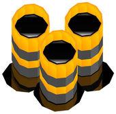 Oil barrels with oil spill. — Stok Vektör