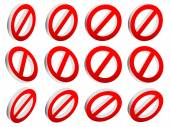 Red prohibition, restriction set — Stock Vector