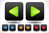 Set of rounded left and right arrow buttons, arrow icons. Green, — Cтоковый вектор
