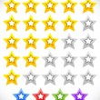 Star rating system with 3d stars. — Stock Vector #72940009