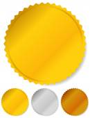 Gold, silver and bronze badges — Stock Vector