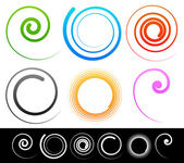 Colorful spirals, shapes set. — Stock Vector