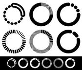 Preloader or buffer shapes, circular elements — Stock Vector