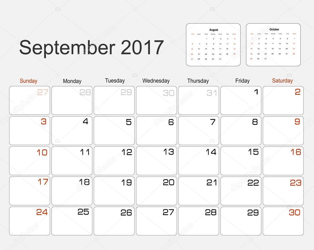 Calendrier septembre 2017 image vectorielle mitay20 101138006 - Calendrier lune septembre 2017 ...