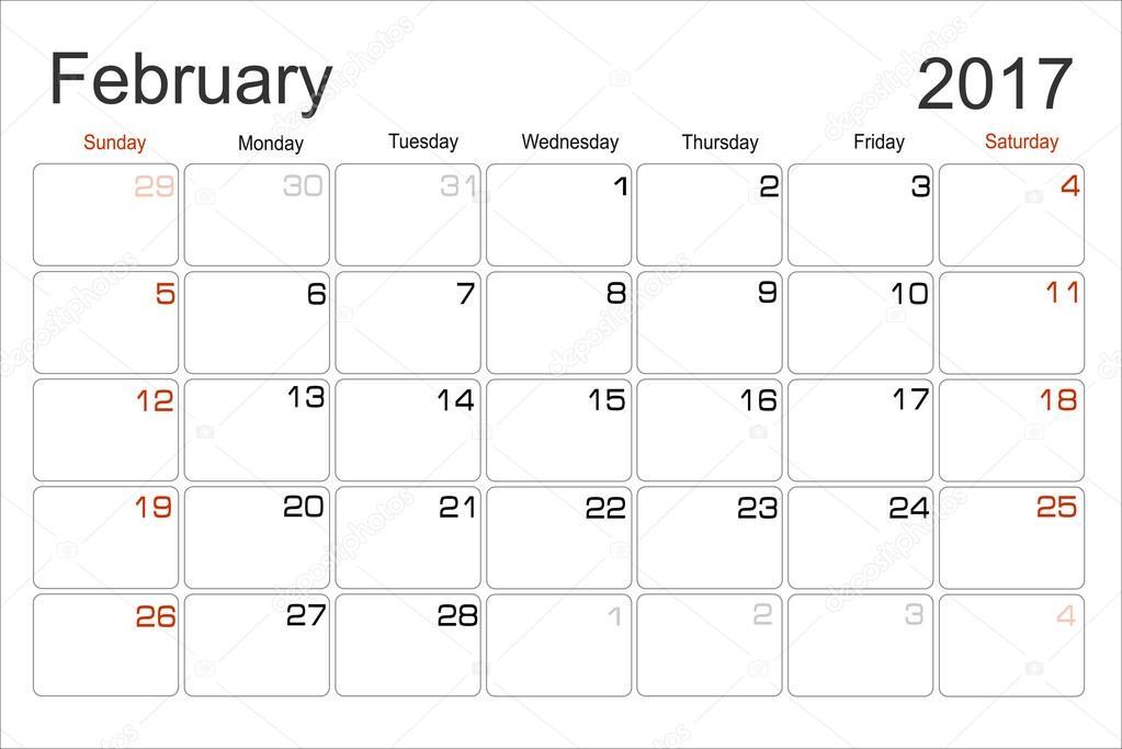 Kalender Februar 2017