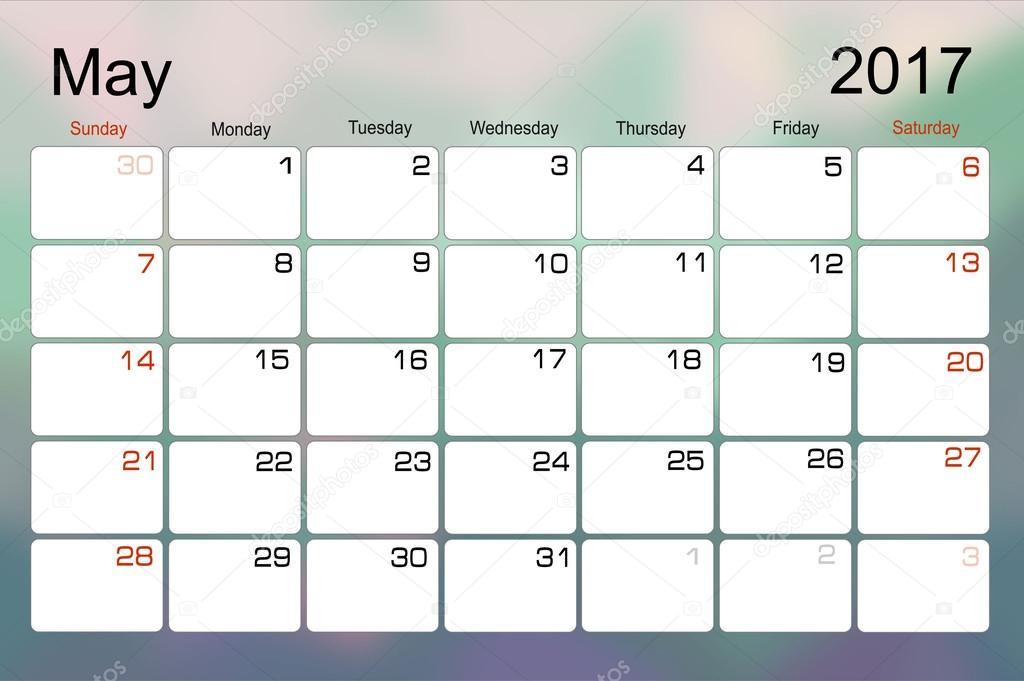 Calendario mayo de 2017 — Archivo Imágenes Vectoriales © mitay20 ...