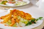 Close up Appetizing Main Course on White Plate — Stock Photo