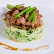 Tasty Beef Meat and Beans on Risotto Dish — Stock Photo #56261491