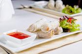 Gourmet Spring Rolls Main Entree with Sauce — Foto de Stock