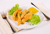 Chicken Strips with Mustard Dipping Sauce — Foto de Stock