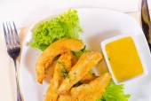 Chicken Strips with Mustard Dipping Sauce — Stock Photo