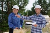 Engineers on a building site — Stock Photo