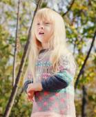 Pretty Little Blond Girl at the Forest — Stock Photo