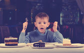 Little boy cannot believe his luck — Stock Photo