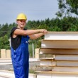 Builder selecting an insulated wall panel — Stock Photo #59164013