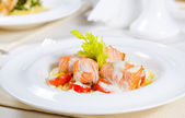 Fish and Cream Dish on Restaurant Table — Stockfoto