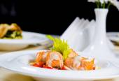 Fish and Cream Dish on Restaurant Table — 图库照片