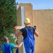 Two builders installing a wooden wall panel — Stock Photo #61239565