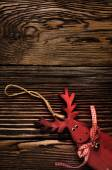 Wooden Deer Hanging Decoration on Wooden Table — Stock Photo