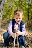 Cute Little Boy Playing with Sticks at the Woods — Stock Photo