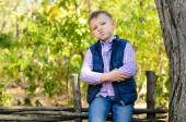 Handsome Little Boy Sitting on Wooden Fence — Stock Photo