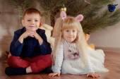 Cute happy little boy and girl — Foto de Stock