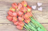 Tulips and a heart for a loved one — Stock Photo