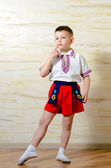 Little boy in ballet shoes and costume — Stock Photo