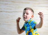 Close Up of Young Boy Singing and Dancing — Stock Photo