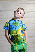 Boy Wearing Floral Print Shirt with Hands on Hips — Stock Photo