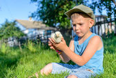 Boy Sitting Outdoors on Grass Holding Fuzzy Chick — Stock Photo