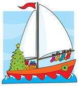 Um veleiro com uma árvore de Natal — Vetor de Stock